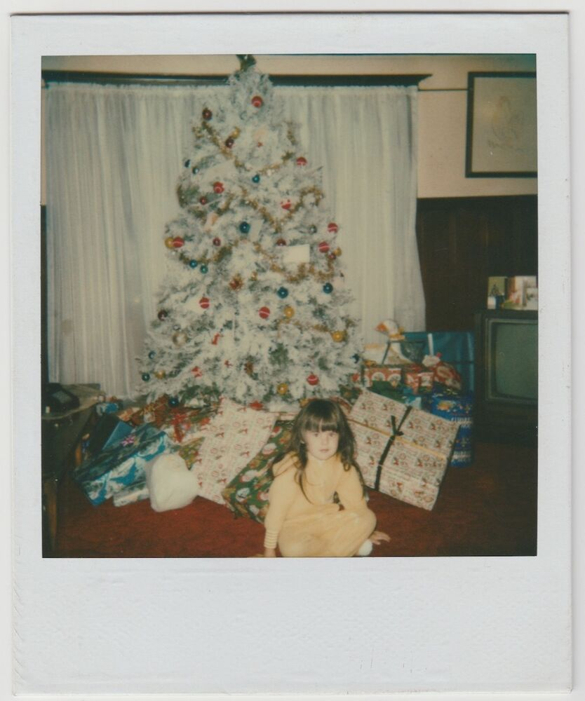 Little Girl Christmas Tree: Vintage 80s Polaroid PHOTO Little Girl W/ Christmas Tree