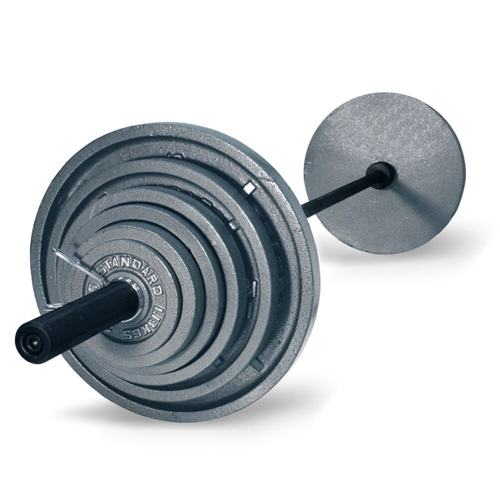 Troy 300 Lb Olympic Weight Set With Grey Plates And Black