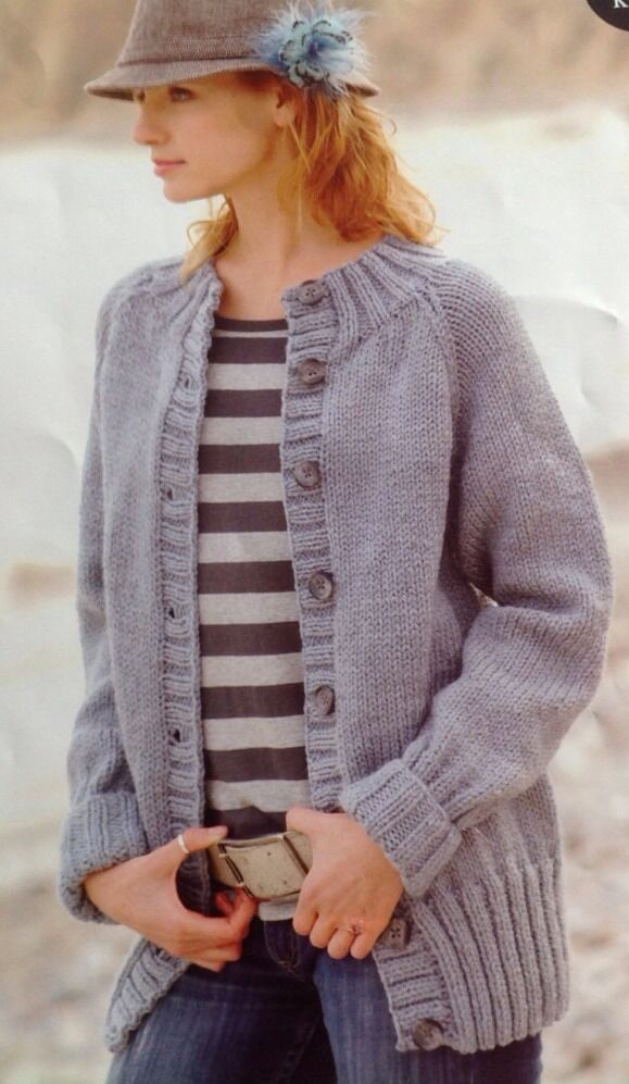 Knitting Pattern For Chunky Ladies Cardigan : Knitting Pattern Ladies/Women Easy Knit Chunky Cardigan/Jacket eBay