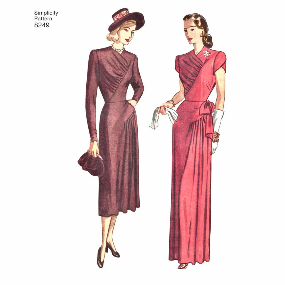 1940s Dressing Gown: S8249 Sewing Pattern Simplicity 8249 Misses Vintage 1940