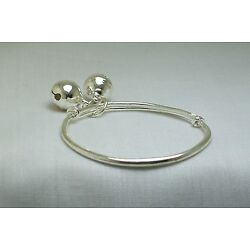 Sterling Silver Smooth Finish Baby Bell Bracelet *New w/ Gift Bag*