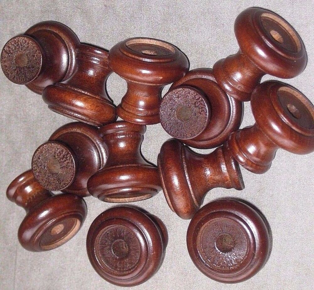 Wooden Furniture Hardware ~ Lot of vintage round wooden dresser drawer pulls