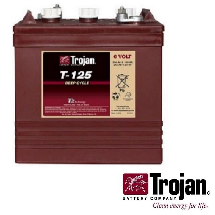 Interstate Deep Cycle Marine Battery >> NEW Trojan T-125 6V 6 Volt Golf Cart Battery RV marine ...