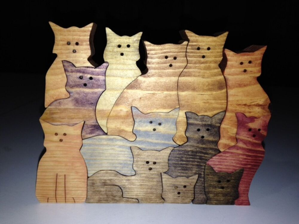 Wooden stack of cats puzzle handmade 13 pieces stained in various colors ebay - Matching wood pieces of different colors ...