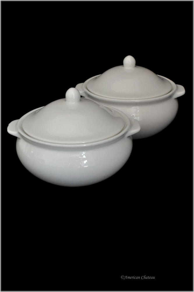 Set 2 Traditional White Porcelain French Onion Soup Bowls