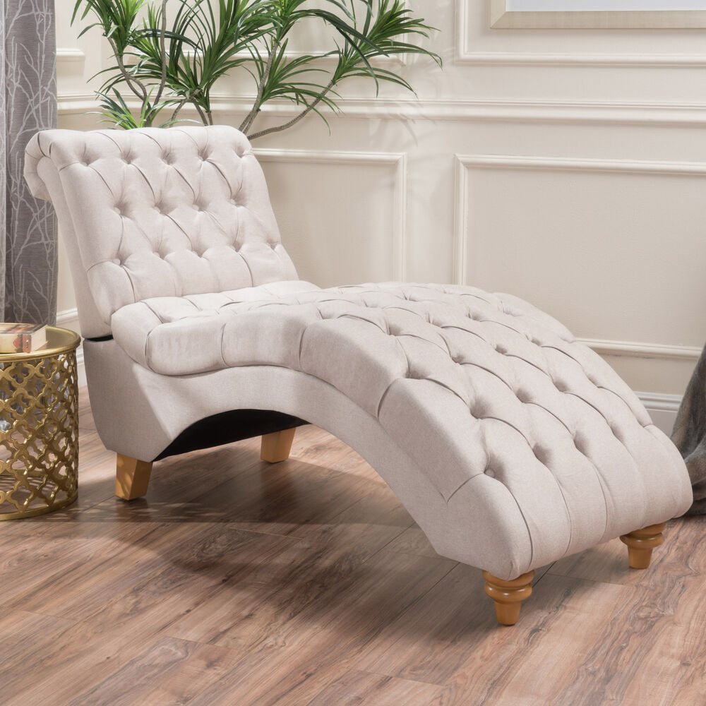 Bellanca fabric tufted chaise lounge chair ebay for Chaise lounge couch