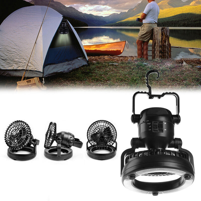 Portable Outdoor Overhead Fans : In camping ceiling fan led light hanging tent lamp