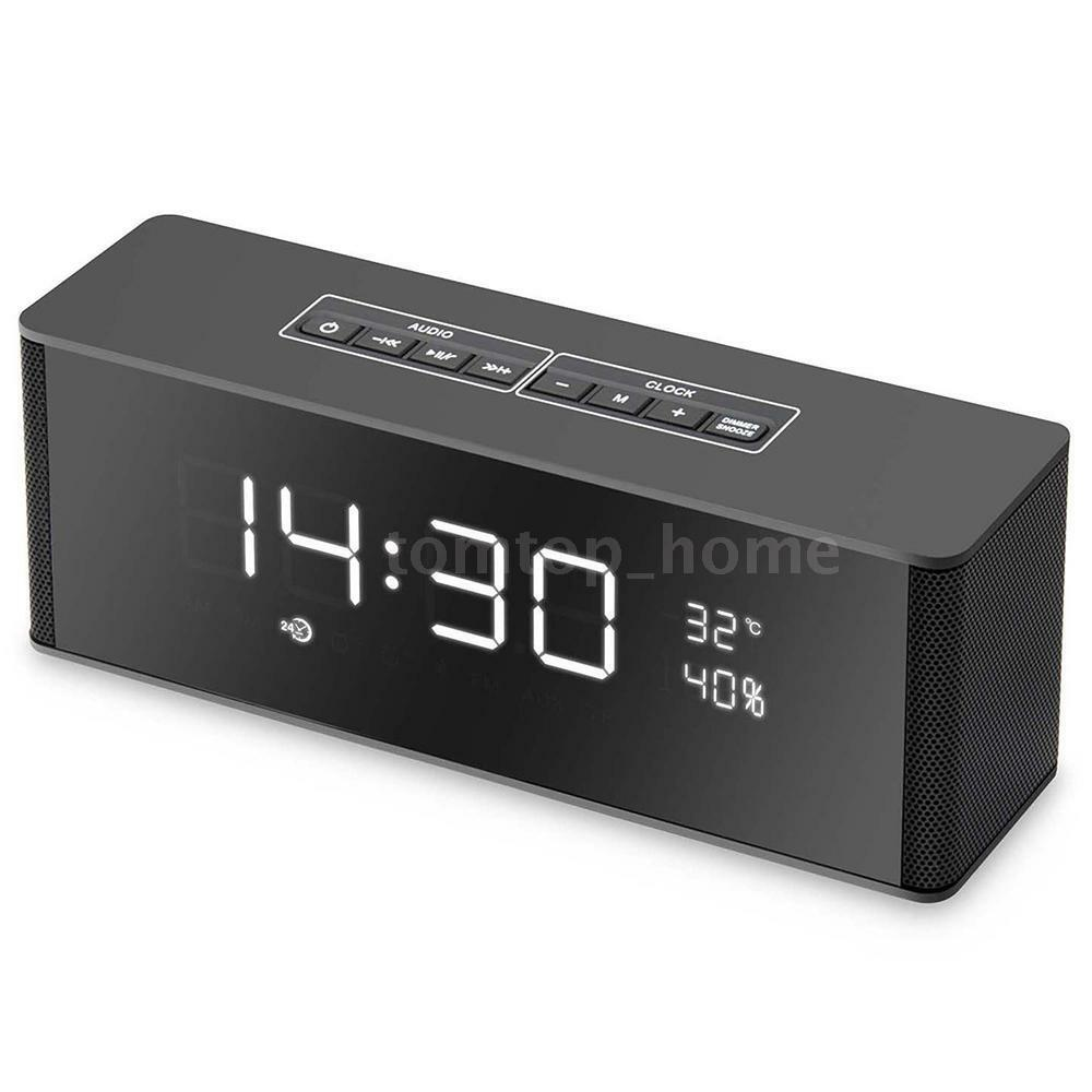 Portable LED Bluetooth Speaker With FM Radio Alarm Clock USB SD TF AUX MP3 K0H0