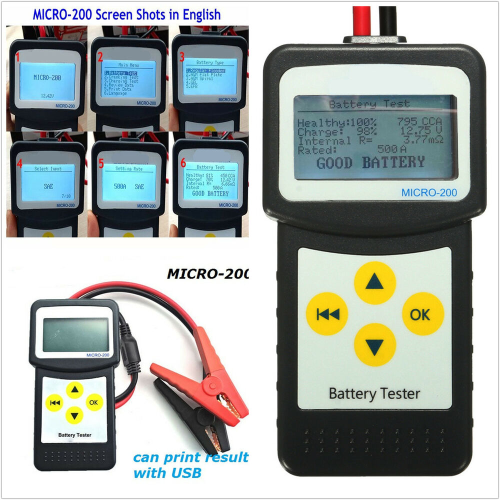 car suv battery load tester auto battery analyzer agm cca. Black Bedroom Furniture Sets. Home Design Ideas