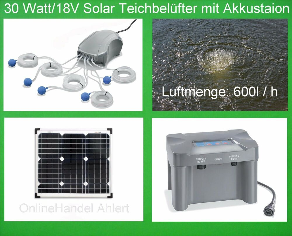 30w solar teichbel fter akku teichbel ftung sauerstoff pumpe gartenteich teich ebay. Black Bedroom Furniture Sets. Home Design Ideas