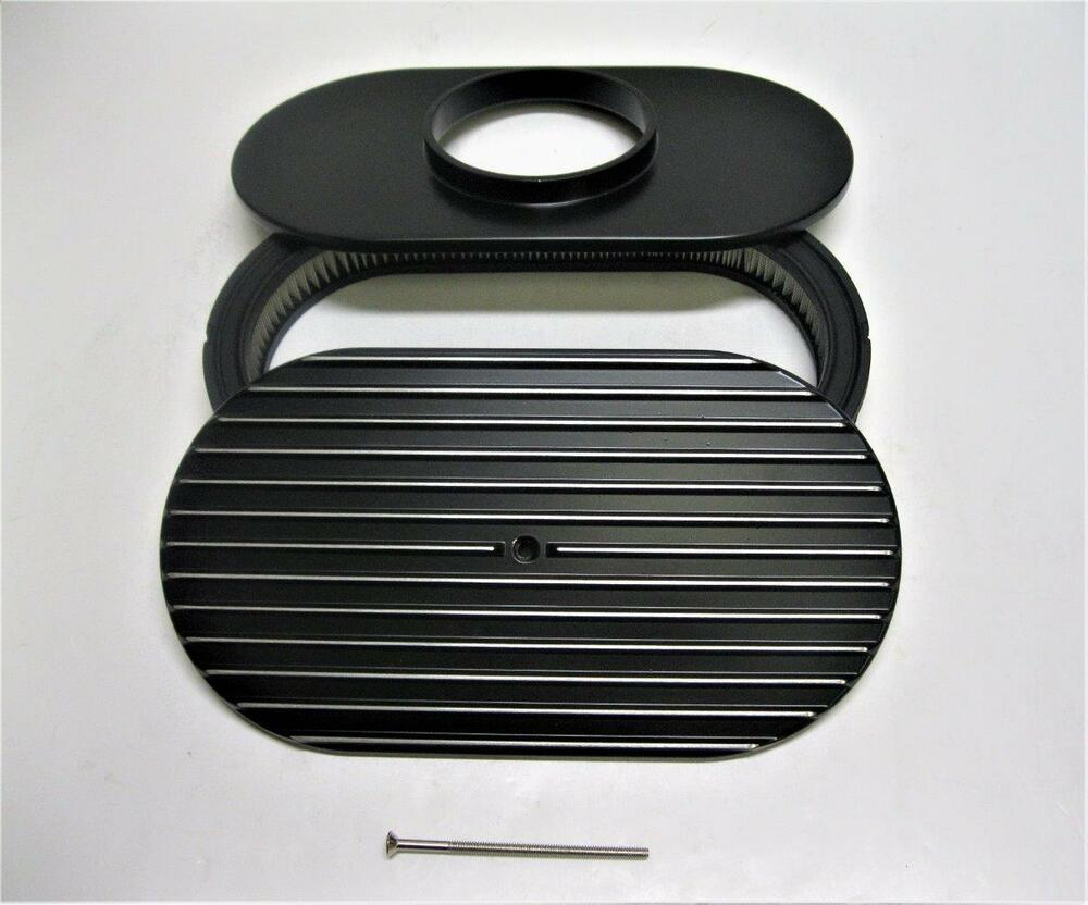 Nostalgia Air Cleaners : Quot finned polished nostalgia black aluminum oval air