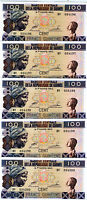 LOT, Guinea, 5 x 100 Francs, 2012, P-New, UNC   colorful