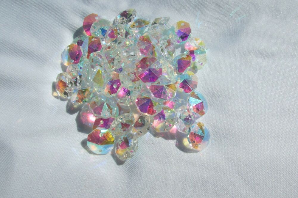 200 14mm ab aaa 2 hole clear octagon crystal glass beads chandelier ebay - Chandelier glass beads ...