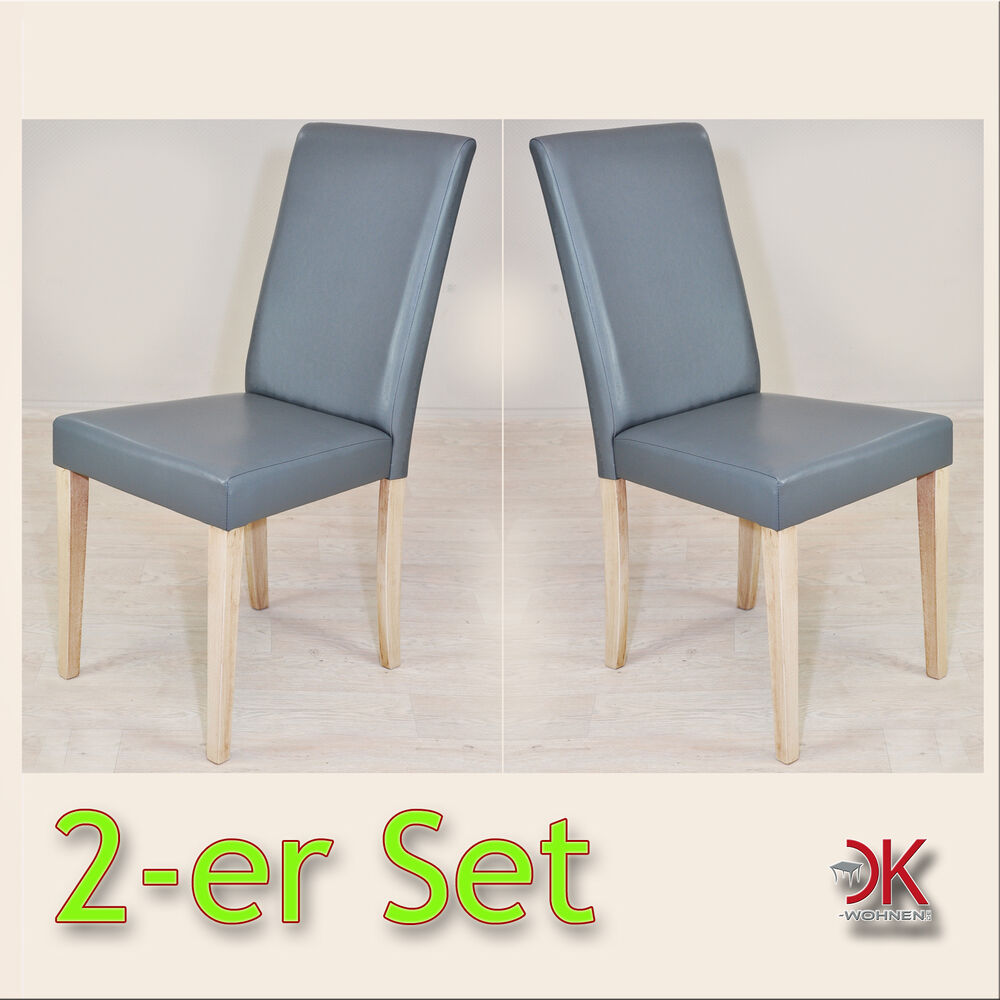 set stuhl k chen sessel polsterstuhl 2x holzstuhl grau eiche leder look 940968 ebay. Black Bedroom Furniture Sets. Home Design Ideas