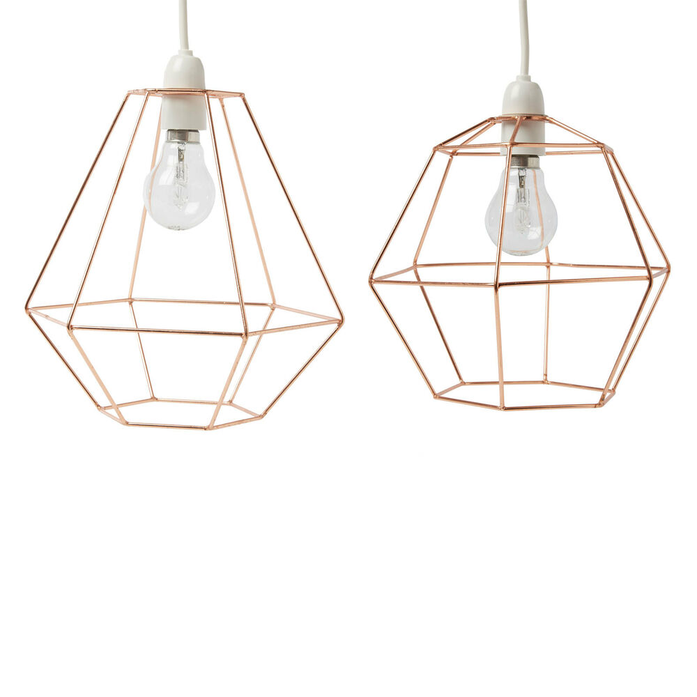 geometric metal copper wire frame ceiling lshade