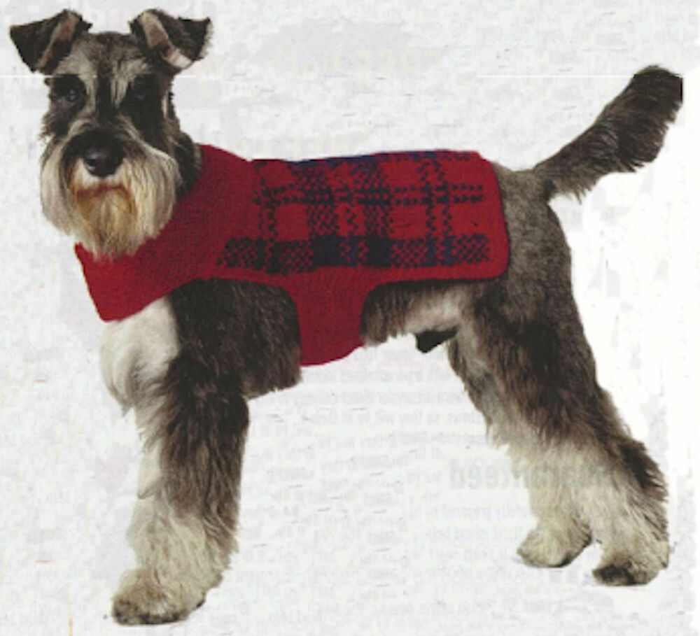 Knitting Coats For Dogs : Dog coat knitting pattern tartan aran wool ebay