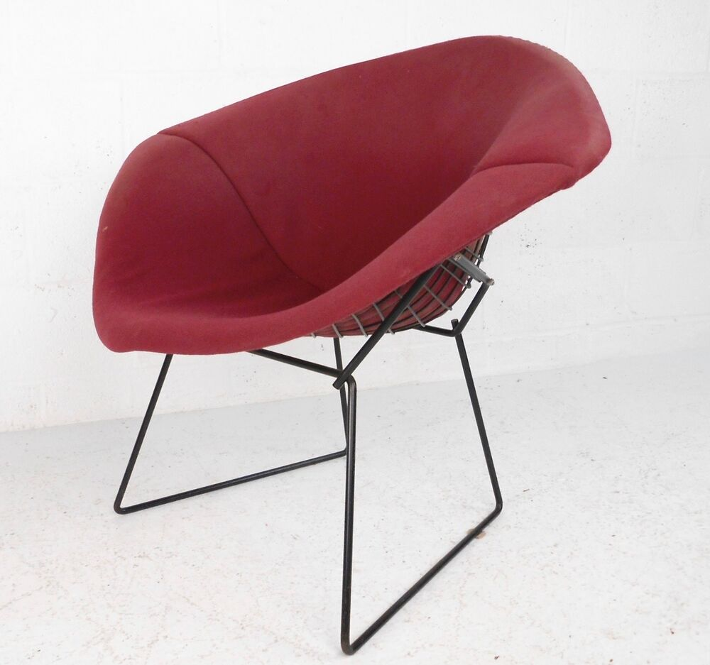 mid century modern upholstered knoll bertoia diamond chair 1087 jr ebay. Black Bedroom Furniture Sets. Home Design Ideas