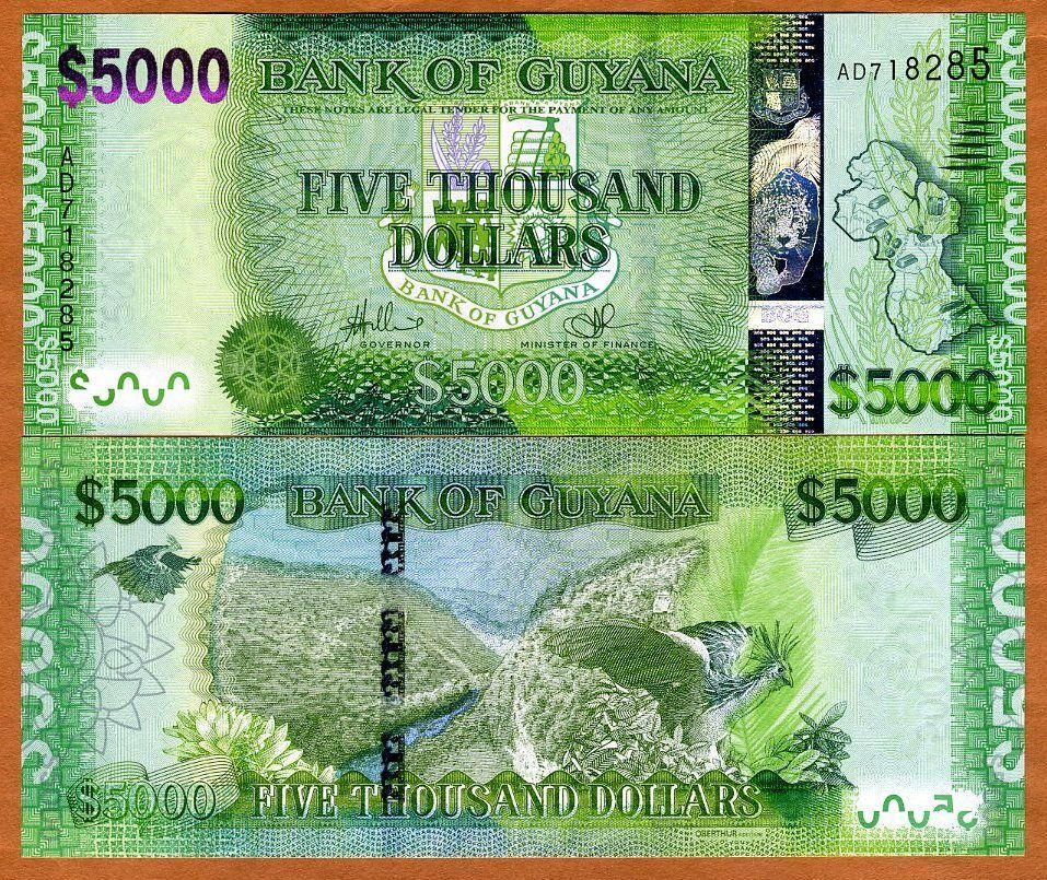 Guyana 5000 dollars nd 2013 p new unc highest for Build a house for under 5000 dollars