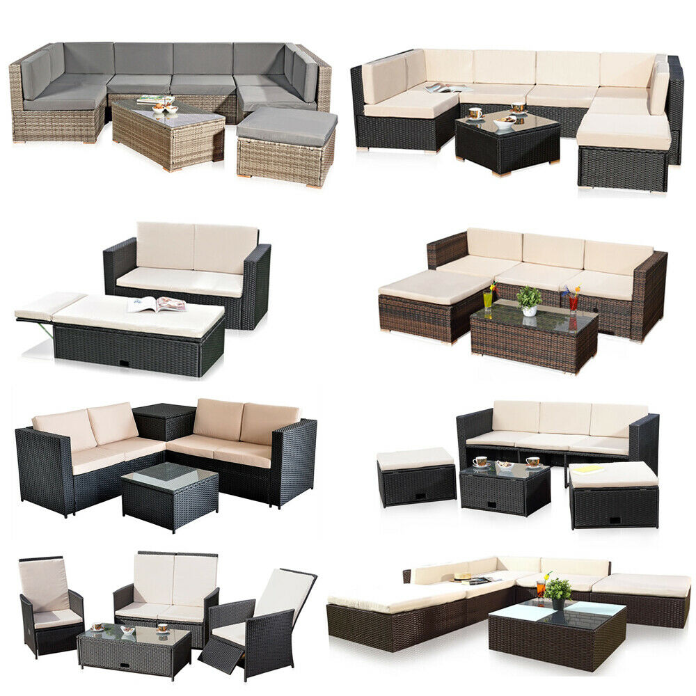 poly rattan gartenm bel sitzgruppe lounge m bel sofa sitzgarnitur gartenset grau ebay. Black Bedroom Furniture Sets. Home Design Ideas