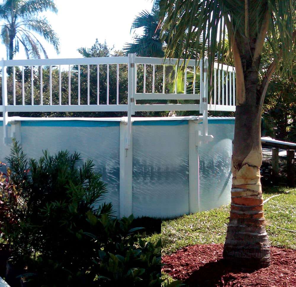 Water warden 24 white vinyl above ground pool fence for Above ground pool vinyl decks
