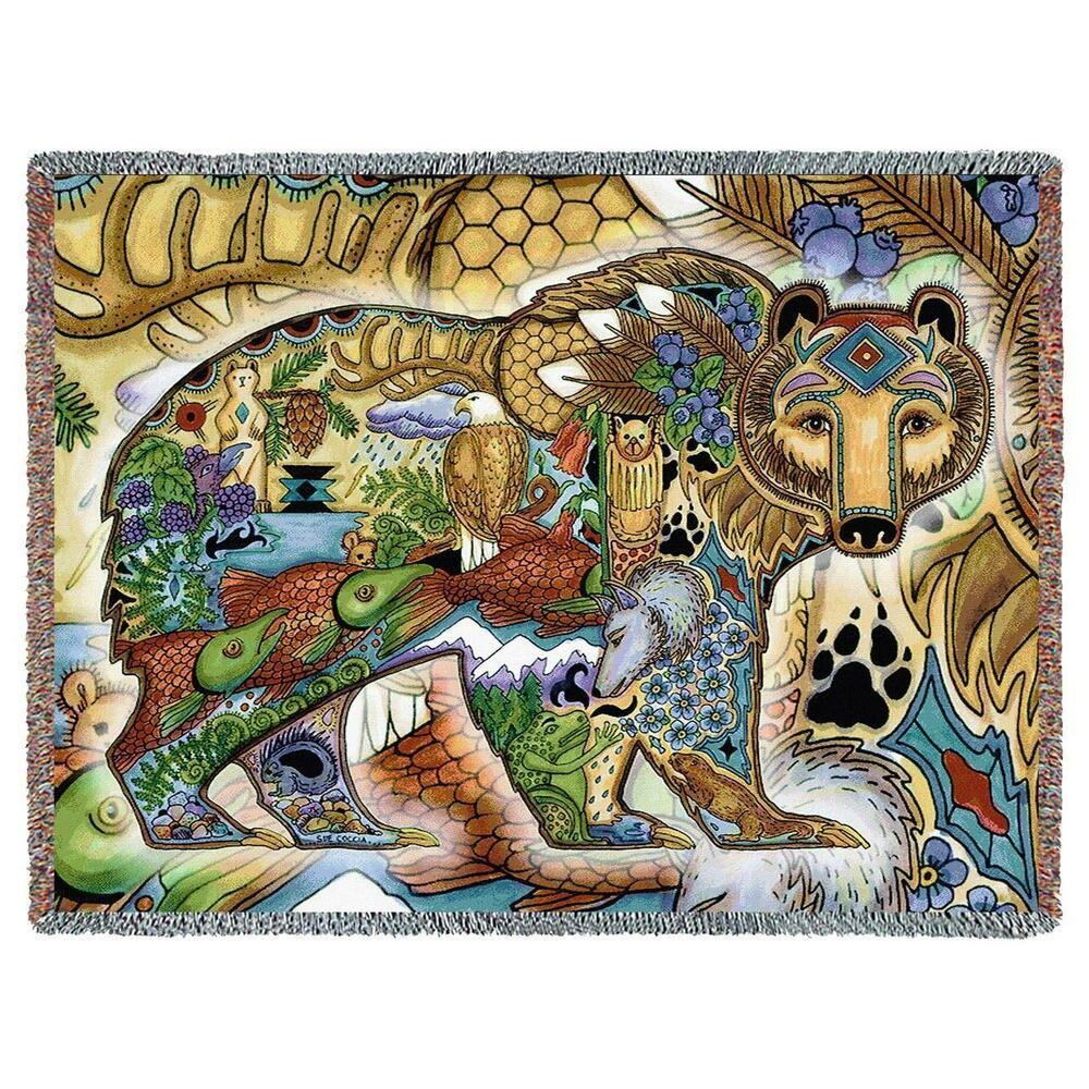 70x53 Grizzly Bear Native American Southwest Tapestry