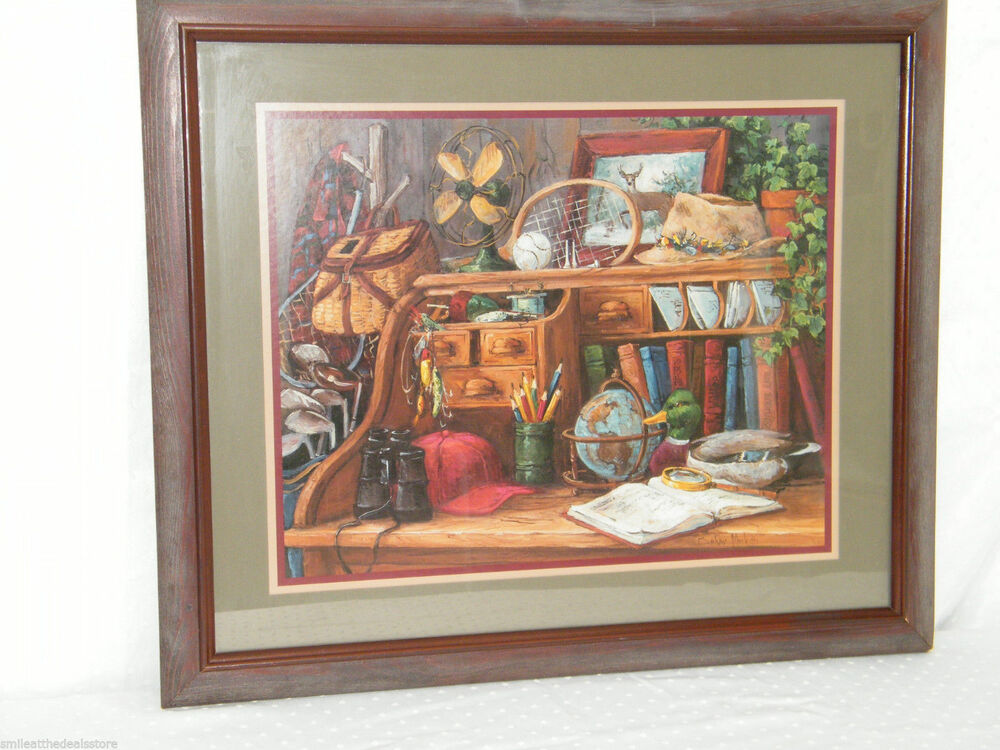 Home interiors antique desk books deer duck framed art Home interior book