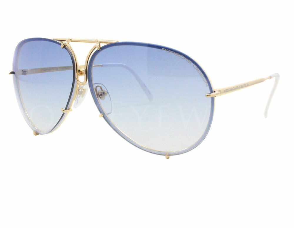 New Porsche Design P 8478 W Gold Blue Gradient Brown Sunglasses Ebay