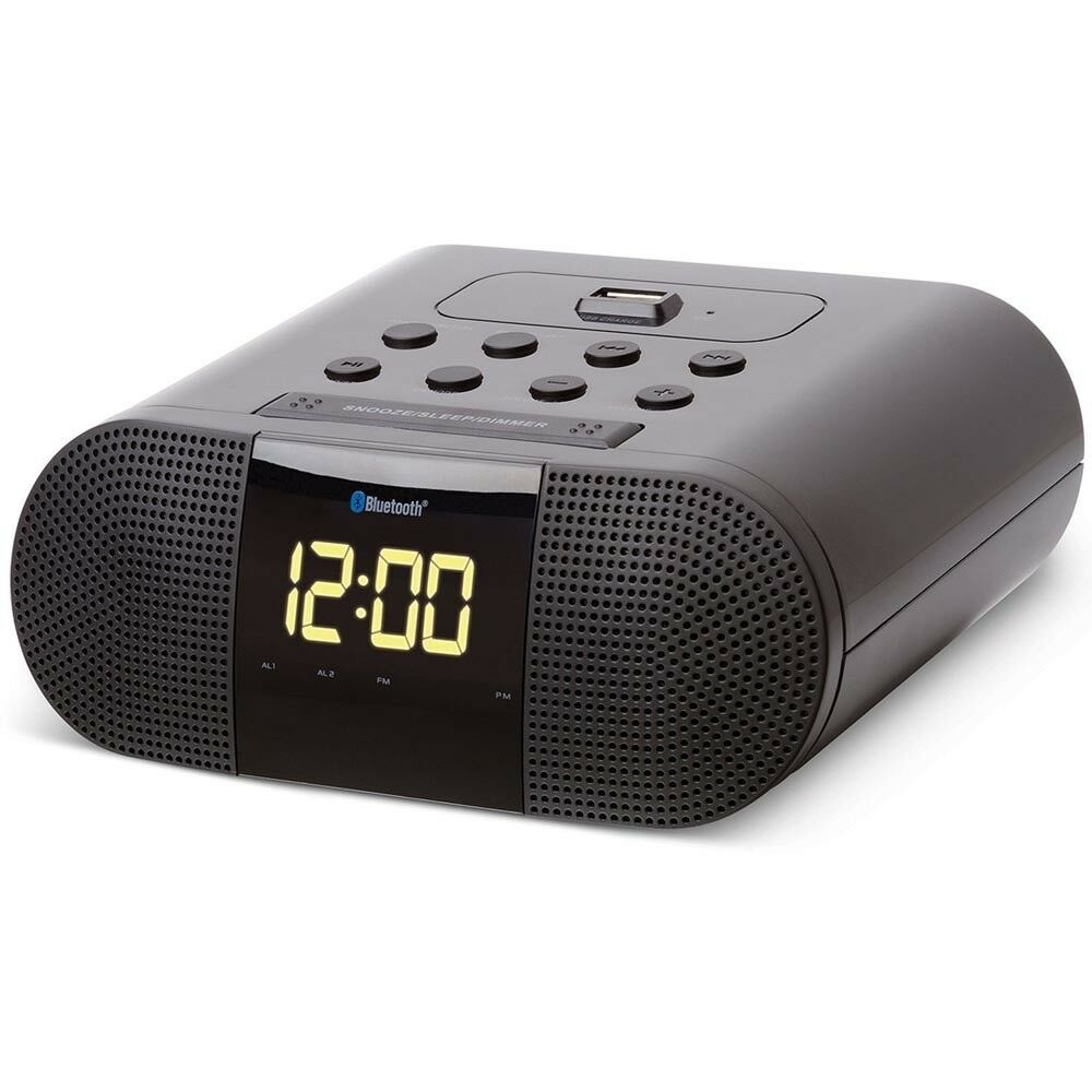 soundlogic xt wireless bluetooth digital alarm clock radio w usb charging port ebay. Black Bedroom Furniture Sets. Home Design Ideas
