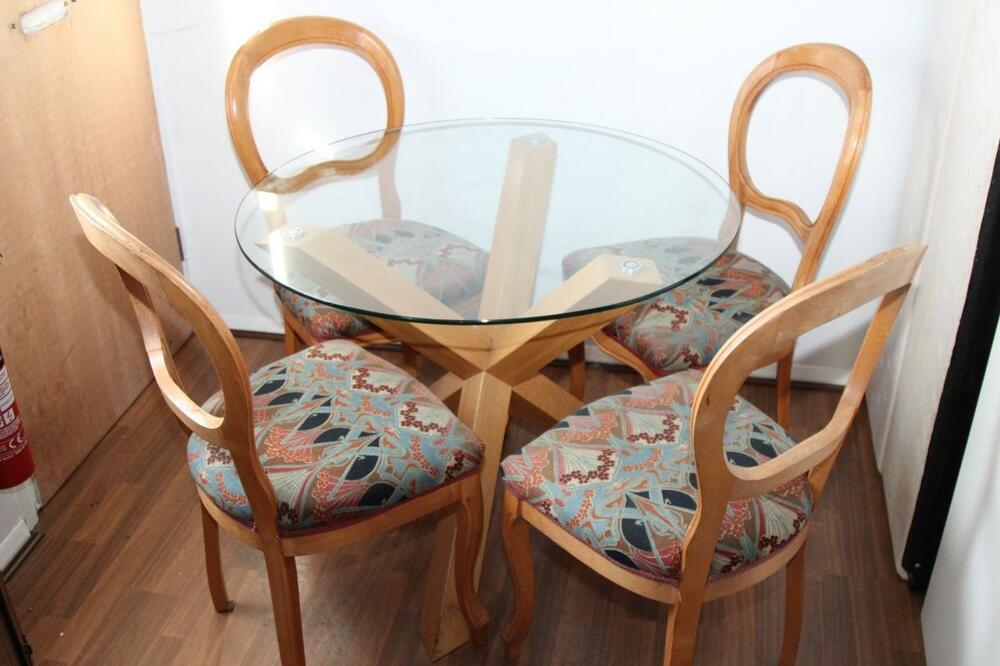 Solid Oak And Glass Designer Table With Liberty Fabric Covered Dining Chairs