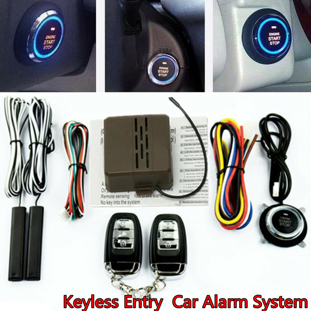 Car Suv Keyless Engine Ignition Power Switch Blue Led: Car Auto SUV Alarm System Security Keyless Entry Push