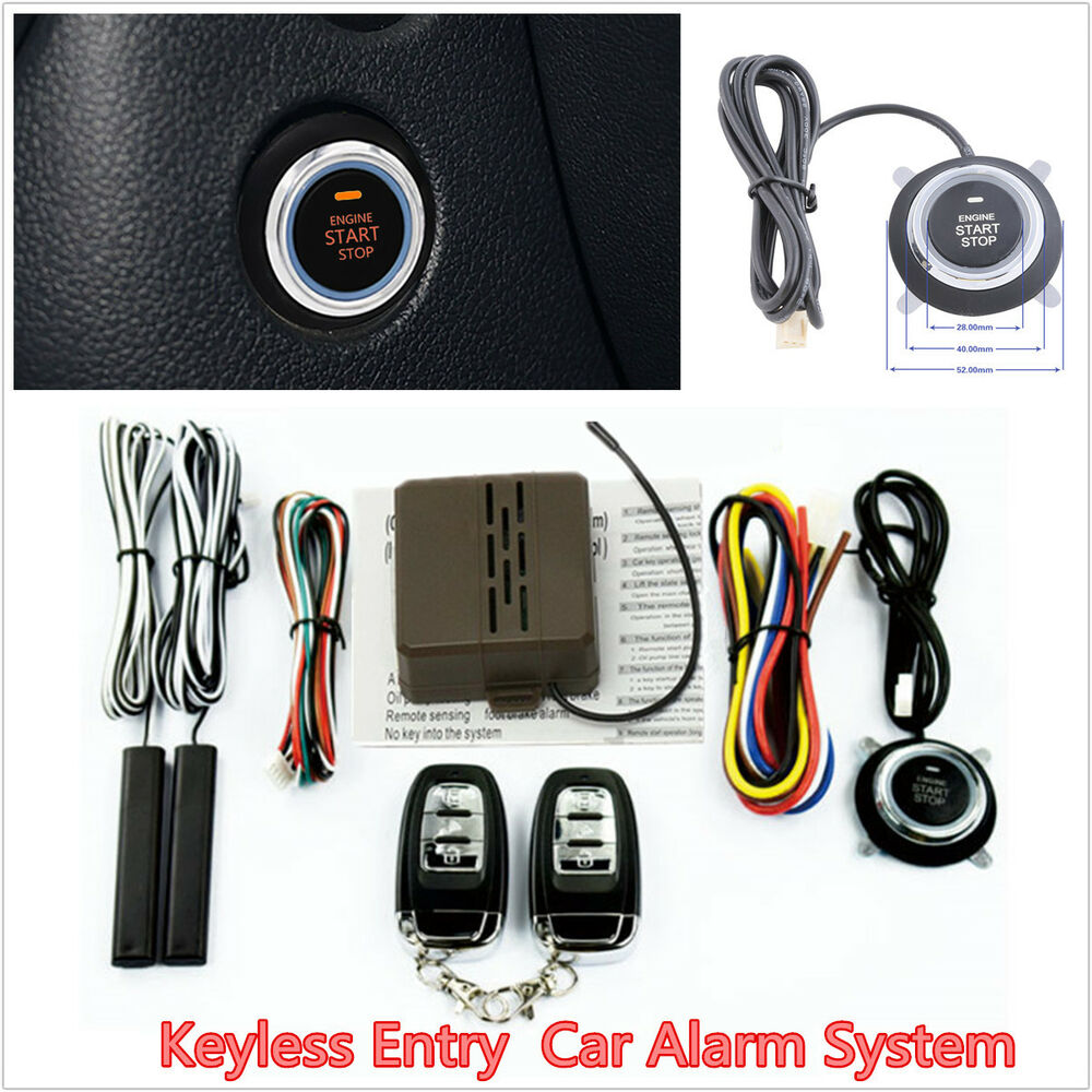 8pcs auto suv alarm system keyless entry engine start push. Black Bedroom Furniture Sets. Home Design Ideas