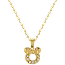 18k Gold Plated Clear CZ Little Mouse Girls Children Pendant Necklace 16