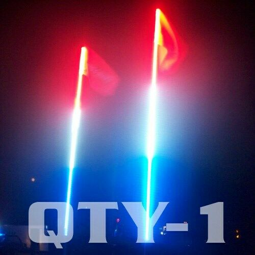 4 Foot Red White Blue Led Safeglo Whips Lighted Whip W