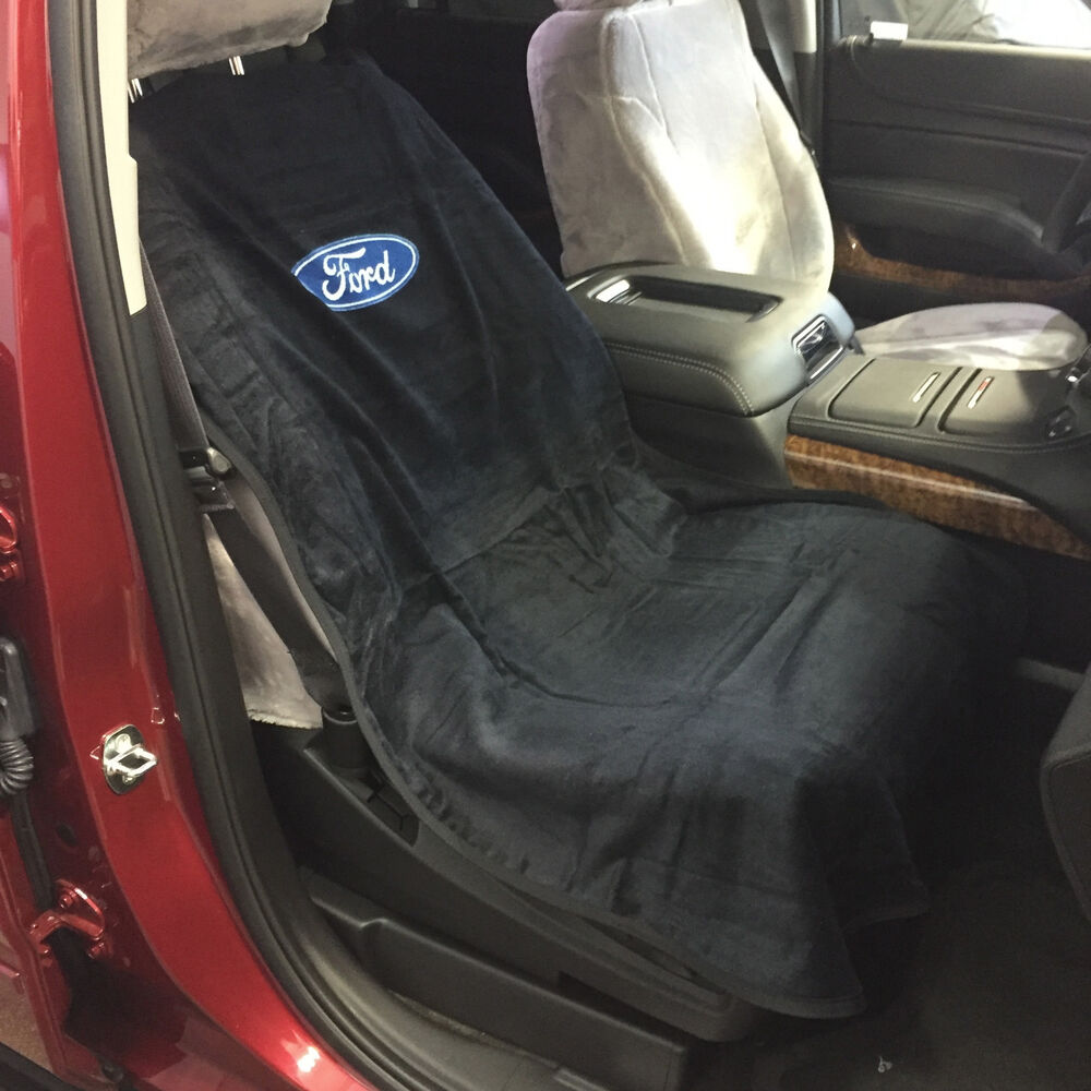 ford logo car seat towel slip on cotton terry cloth black seat cover 47 x 24 ebay. Black Bedroom Furniture Sets. Home Design Ideas