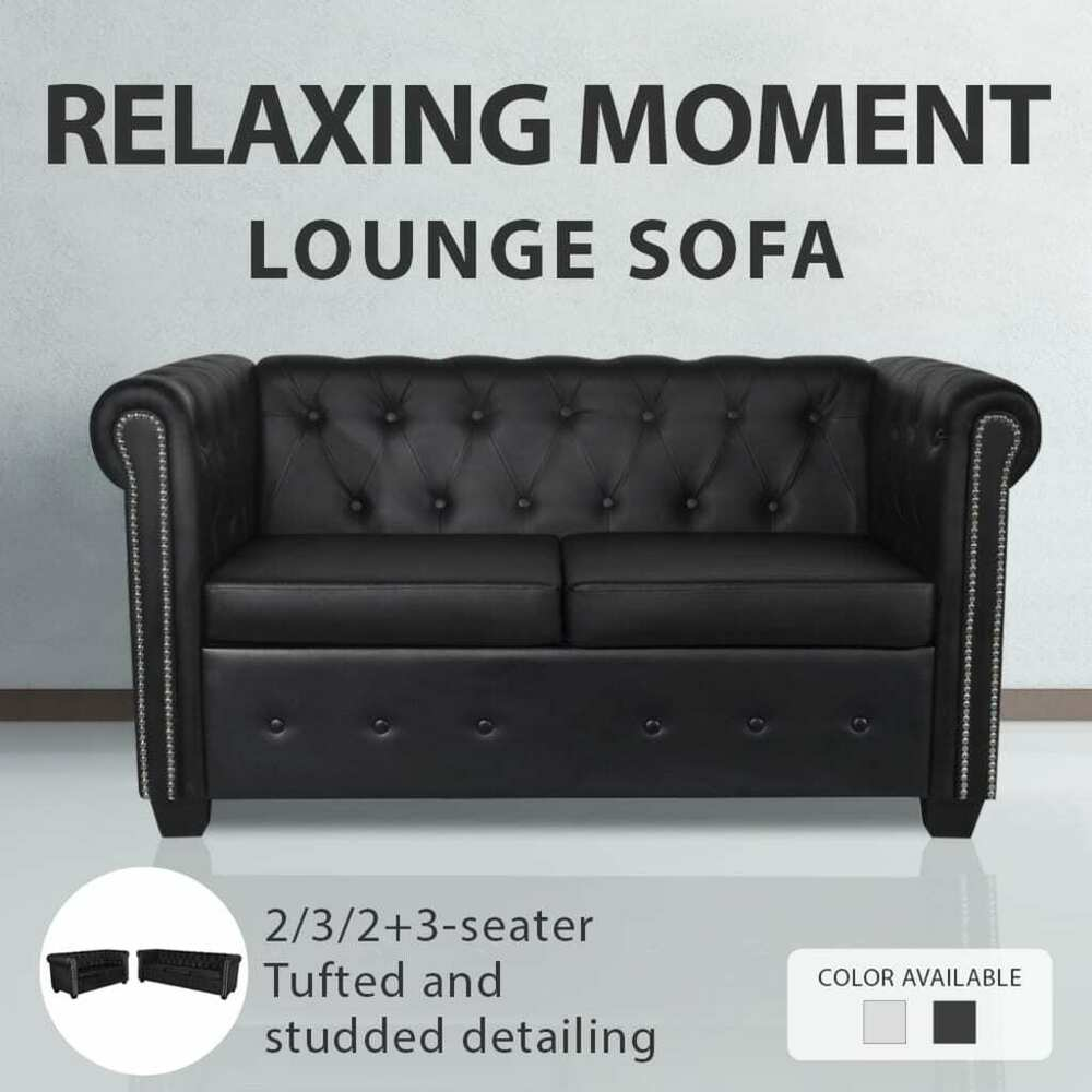 black white 3 2 3 2 seater chesterfield leather sofa lounge bed couch chaise ebay. Black Bedroom Furniture Sets. Home Design Ideas