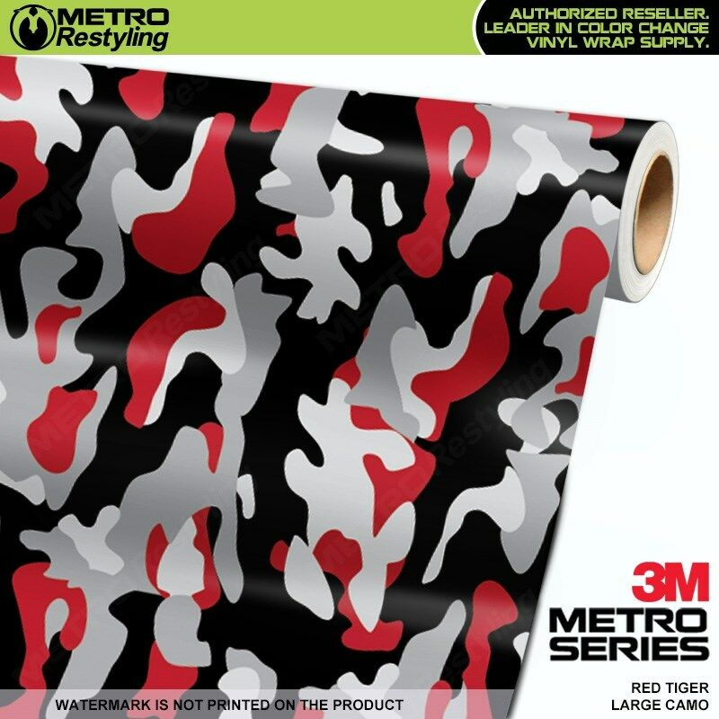 Large Red Tiger Camouflage Vinyl Car Wrap Camo Film Sheet