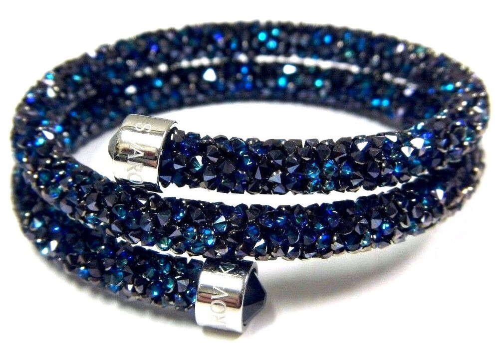 blue crystaldust double bangle bracelet small 2016 swarovski jewelry 5255903 ebay. Black Bedroom Furniture Sets. Home Design Ideas