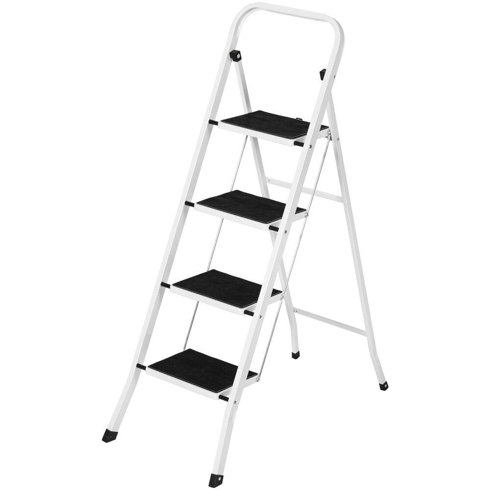 Portable Folding 4 Step Ladder Steel Stool 300lb Heavy
