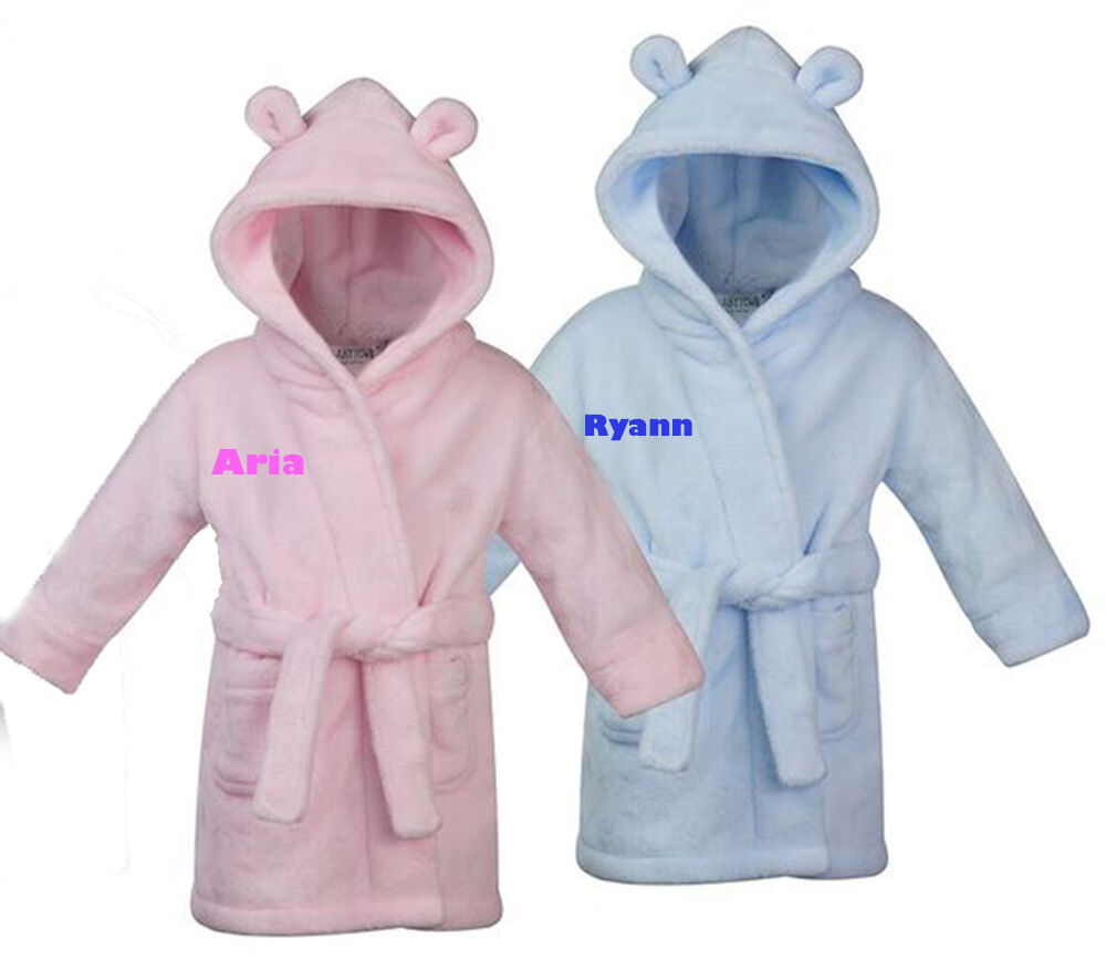 Personalised Baby Dressing Gown House Coat Bath Robe Embroidered ...