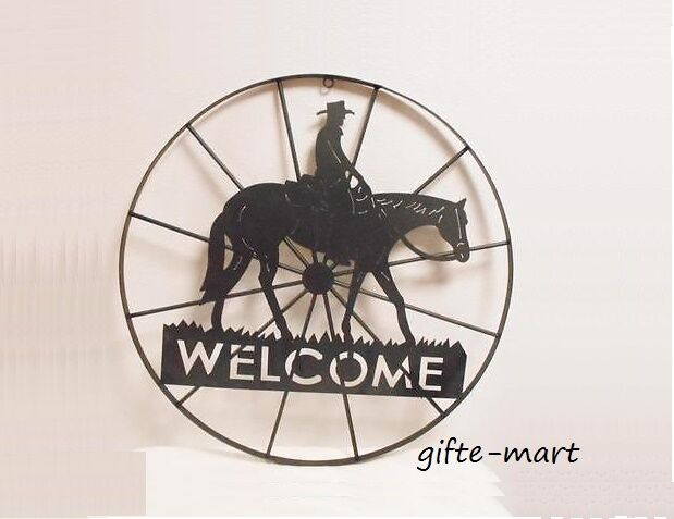 Welcome Sign Star Horseshoe Country Western Cowboy Horse Metal Wall Art Outdoor Ebay