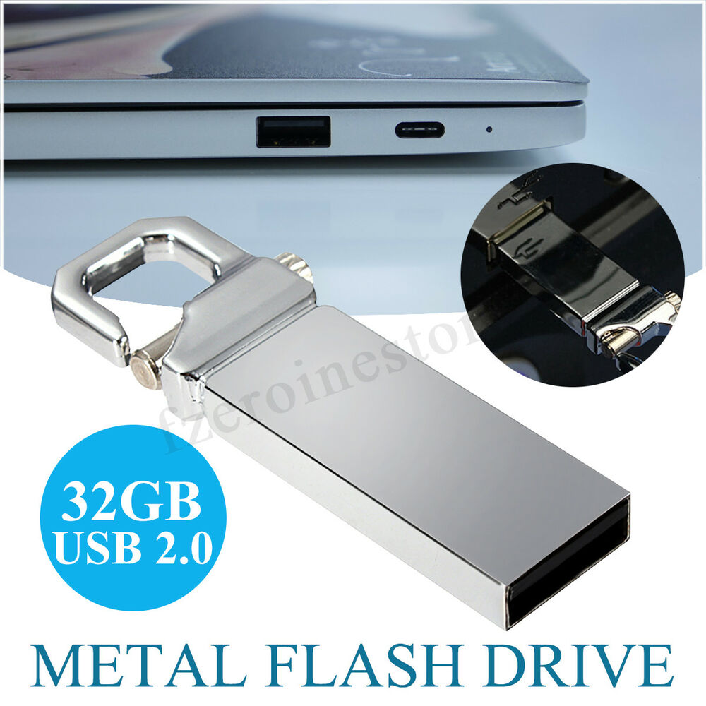 new 32gb usb 2 0 metal flash drive memory keychain thumb. Black Bedroom Furniture Sets. Home Design Ideas