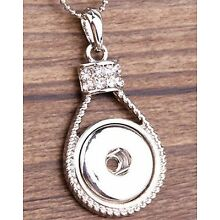 Fits Ginger Snap GINGER SNAPS PENDANT Rhinestone Drop Necklace 18mm Button Charm