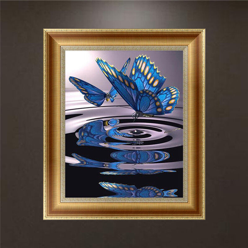 Diy 5d Diamond Embroidery Painting Blue Butterfly Cross