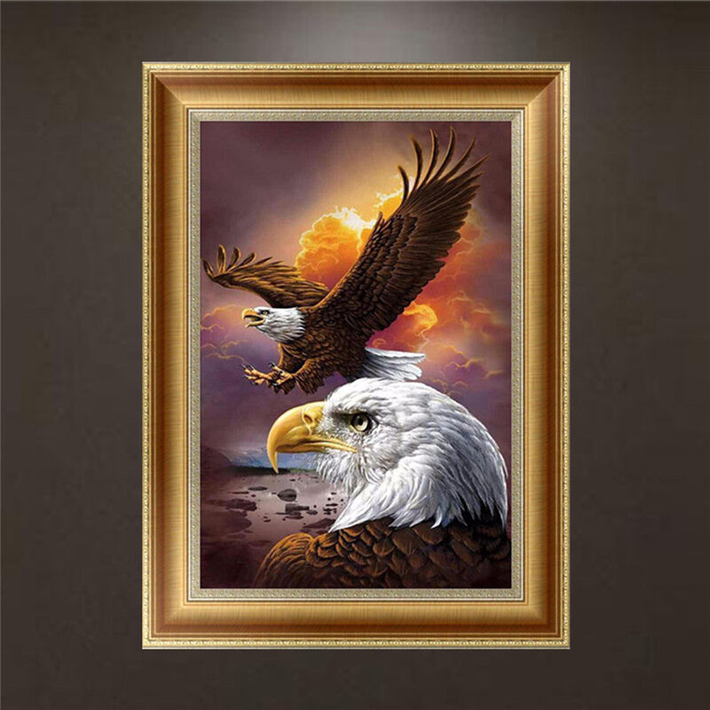 Diy 5d diamond embroidery painting eagle cross stitch for Eagle decorations home