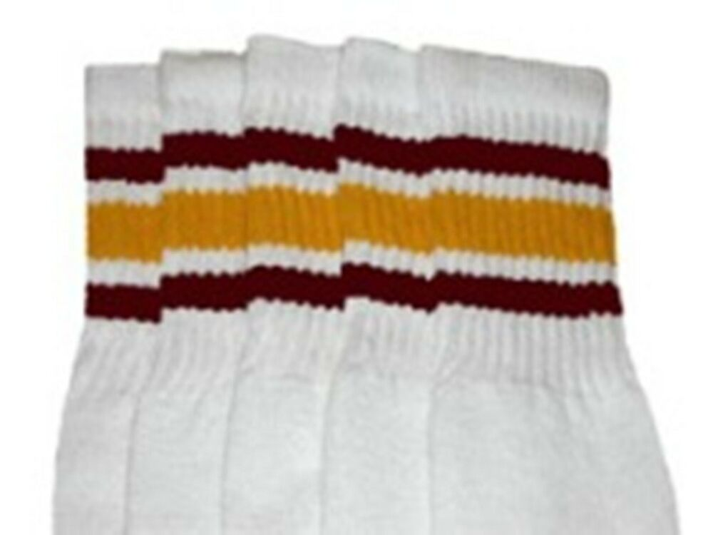 "347b115ef Details about 25"" KNEE HIGH WHITE tube socks with MAROON GOLD stripes style  3 (25-25)"