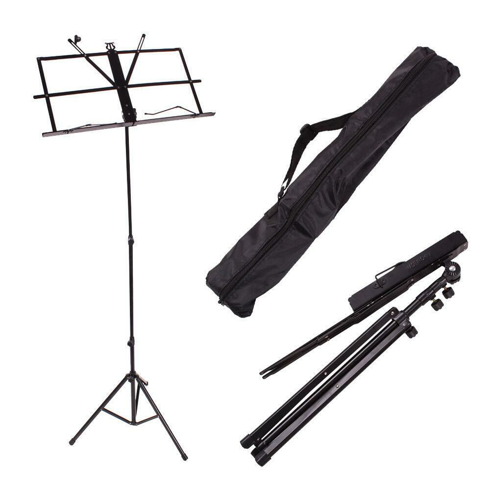 new black adjustable folding sheet music stands with bag ebay. Black Bedroom Furniture Sets. Home Design Ideas