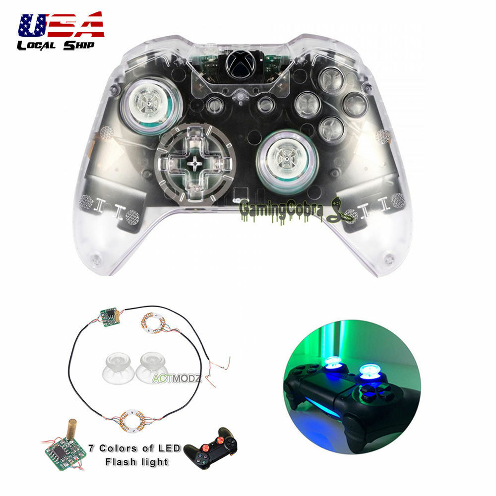 2b7206211bd Details about Clear Full Shell Buttons Analog Led Light Thumb Sticks for Xbox  One Controller