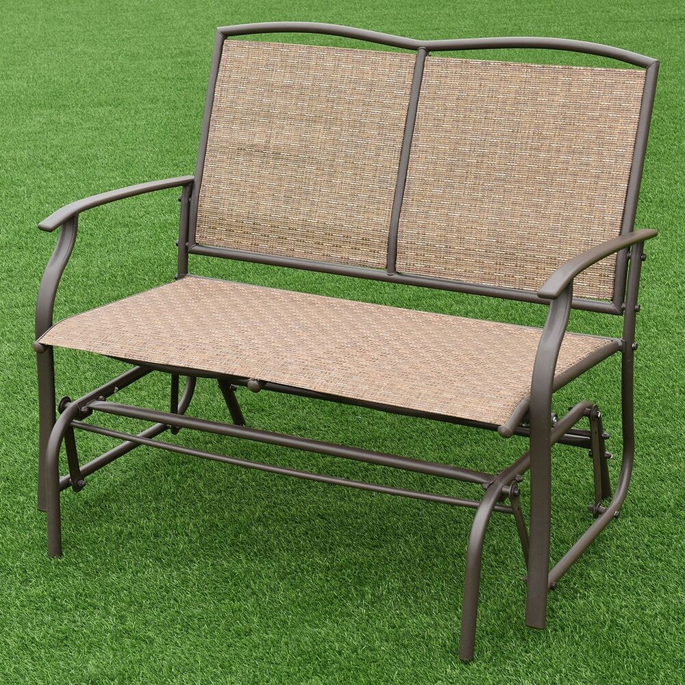 2 Person Outdoor Patio Swing Glider Loveseat Bench Rocking