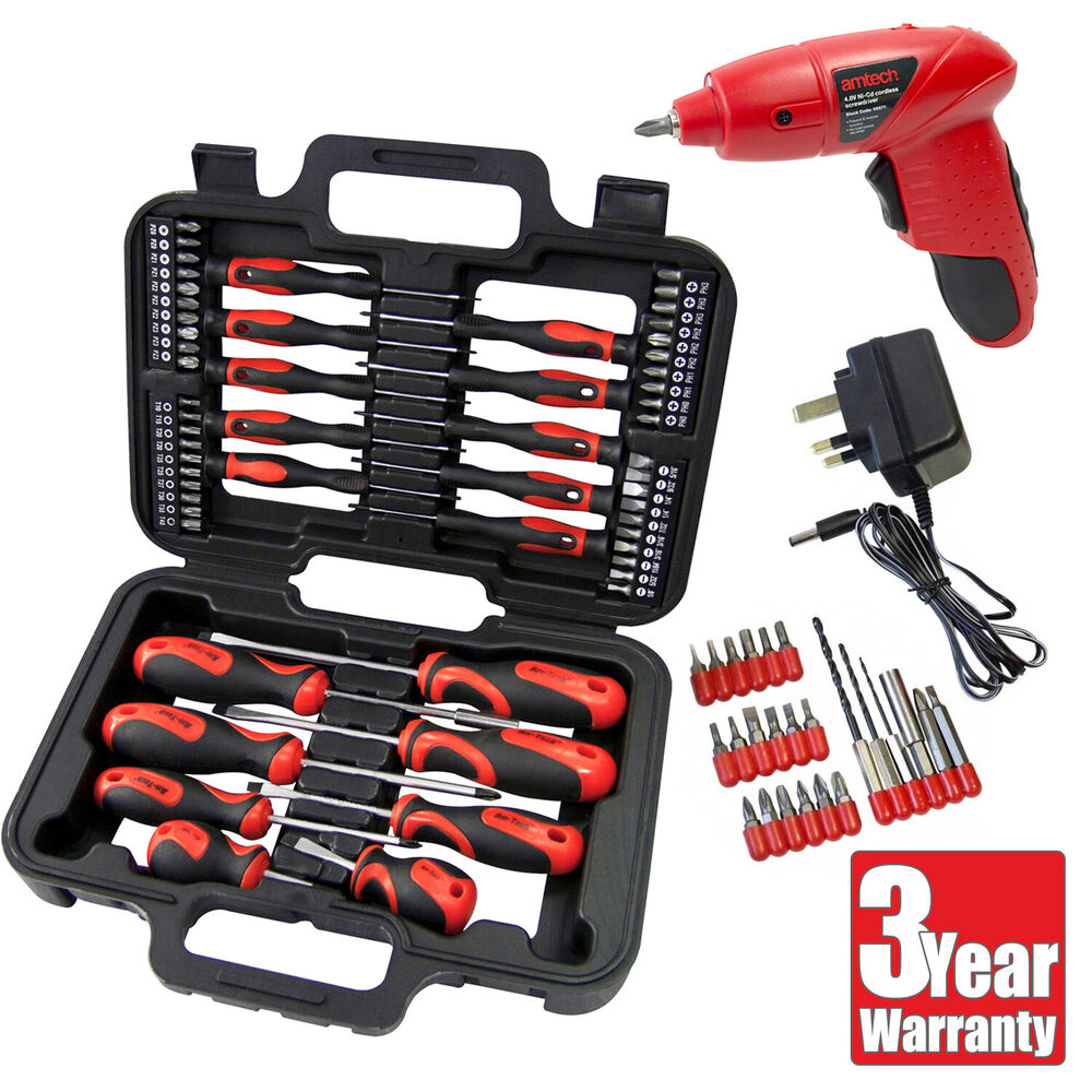 amtech 84pc 4 8v cordless rechargeable driver screwdriver bits set with case ebay. Black Bedroom Furniture Sets. Home Design Ideas
