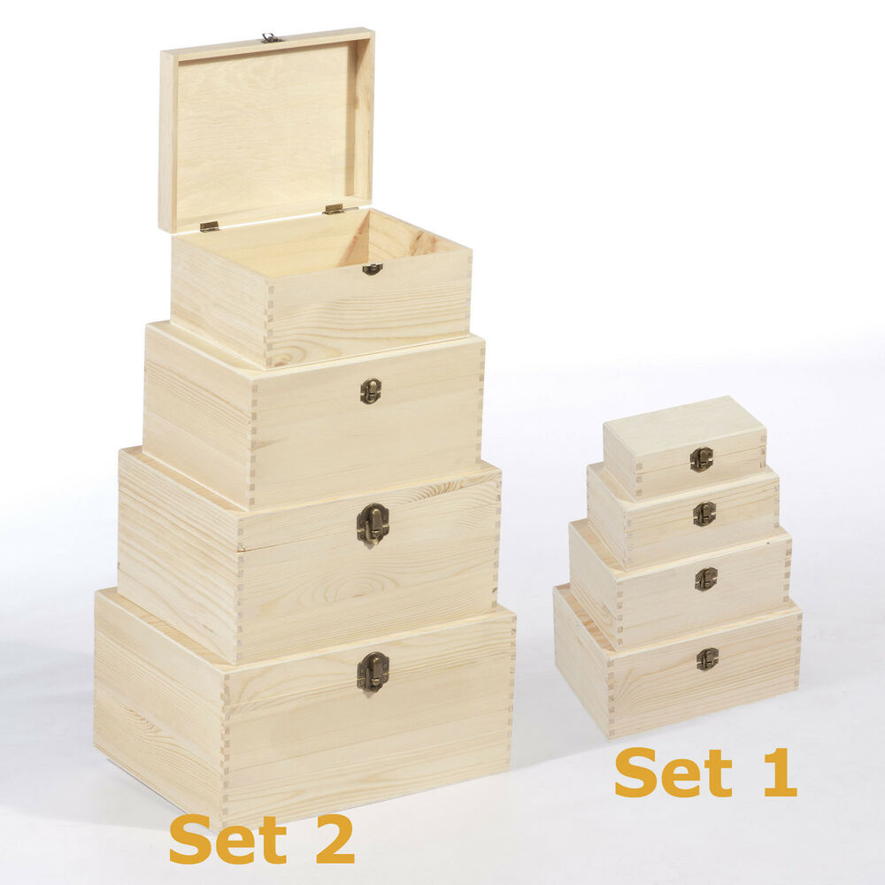 4er holzbox set holzschatulle aufbewahrungsbox holzkiste mit deckel geschenkbox ebay. Black Bedroom Furniture Sets. Home Design Ideas